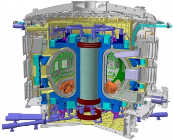 Le tokamak ITER est un dispositif unique et l'une des machines les plus complexes jamais conçues. Crédit image : ITER Organization (Click to view larger version...)