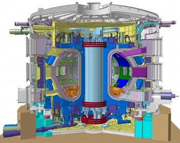 Haut de près de trente mètres, lourd de 23 000 tonnes, le tokamak ITER est une machine très complexe. La silhouette du personnage en bleu au pied de la machine nous donne une idée de sa taille. On estime à un million le nombre de composants du tokamak ITER. Image: ITER Organization 2013 (Click to view larger version...)