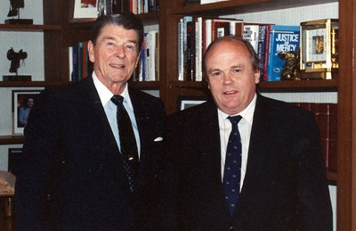A physicist at ease in the world of global politics: Evgeny Velikhov, here with President Reagan, was an expert at building bridges, both personal and institutional, between the Soviet and US scientific communities. Photo: Kurchatov Archives (Click to view larger version...)
