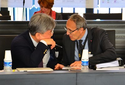 ''We will be catalysts for progress,'' said ITER Director-General Bernard Bigot (right), seen here in conversation with Deputy Director-General and Chief Operating Officer Gyung-Su Lee. (Click to view larger version...)