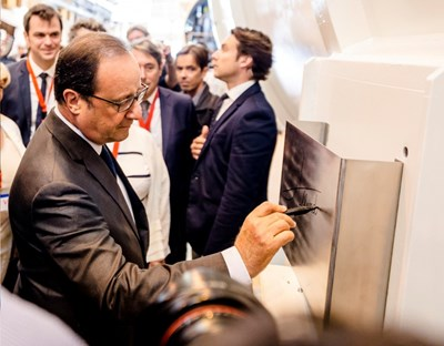 The cryoplant's ''cold boxes'' are currently being equipped with internal components at the Air Liquide factory in Sassenage, near Grenoble, France. During a visit to the factory last summer, French President François Hollande autographed one of them. (Click to view larger version...)