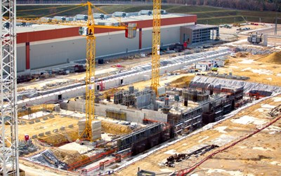 On the ITER platform, work is progressing on the foundations of the soccer field-size building that will accommodate the cryoplant. The completed building structure should be delivered in April 2017. © ENGAGE (Click to view larger version...)