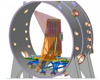 A CAD representation of the rear side of the STRIKE calorimeter, installed inside the SPIDER vessel perpendicular to the beam. In orange, the view cones of infrared cameras. (Click to view larger version...)