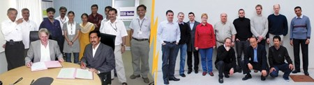 The Diagnostic Neutral Beam Procurement Arrangement is signed in India (left); pictured at right are members of the ITER Neutral Beam Section including engineering support staff. (Click to view larger version...)