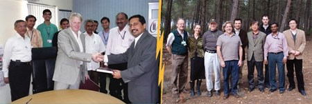Left: ITER PDDG Norbert Holtkamp and ITER India Project Director Shishir Deshpande sign the Cooling Water System PA. Right: Members of the ITER Cooling Water Systems Section. (Click to view larger version...)