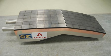 An example of a first wall semi-prototype, clad with 10-mm-thick beryllium tiles. This prototype was manufactured by Areva, one of European Domestic Agency suppliers. Other semi-prototypes have been manufactured and tested in Russia and China. (Click to view larger version...)