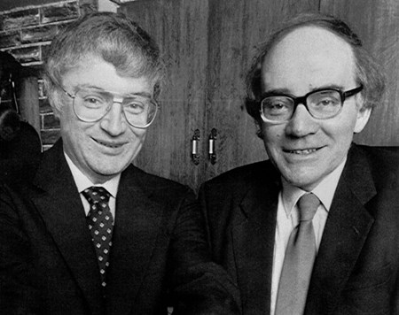 Martin Fleischmann, right, with Stanley Pons, in 1989. The team of electrochemists from the University of Utah claimed they had acheived hydrogen fusion at room temperature. Thirty years later, having invested USD 10 million in research, Google confirmed in May that they had found ''no evidence whatsoever'' in favour of cold fusion. (Click to view larger version...)