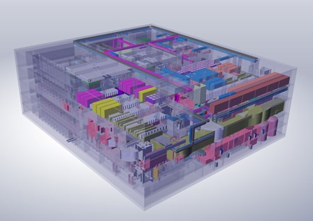 All processing, repair, refurbishment, and testing of components that have become activated by neutron exposure will take place in the ITER Hot Cell, a 200,000-cubic-metre, five-level structure near the Tokamak Complex. (Click to view larger version...)