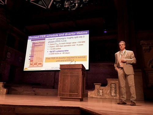 ITER was strongly represented at the PSI conference this year, with three posters and two talks. Here, under the venerable eaves of Richardson Auditorium, Richard Pitts is seen delivering his talk on the ''Physics basis for the ITER tungsten divertor.'' (Click to view larger version...)