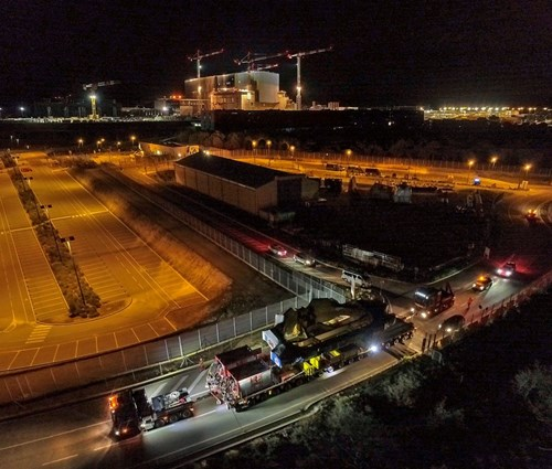 A drone captures the arrival of the convoy on the ITER site. Photo: ITER Organization/EJF Riche (Click to view larger version...)