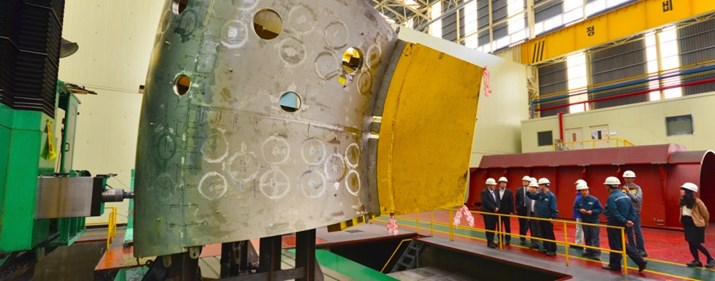 Th six-metre-tall structure currently on the shop floor in Ulsan is only the small upper segment of one of the nine ITER vacuum vessel sectors.