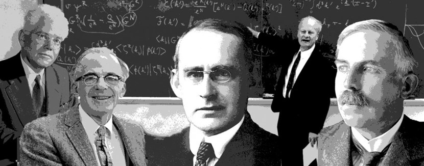 From left to right: Mark Oliphant (1901-2000); Lyman Spitzer (1914-1997); Arthur Eddington (1882-1944); Hans Bethe (1906-2005); and Ernest Rutherford (1871-1937). (Click to view larger version...)
