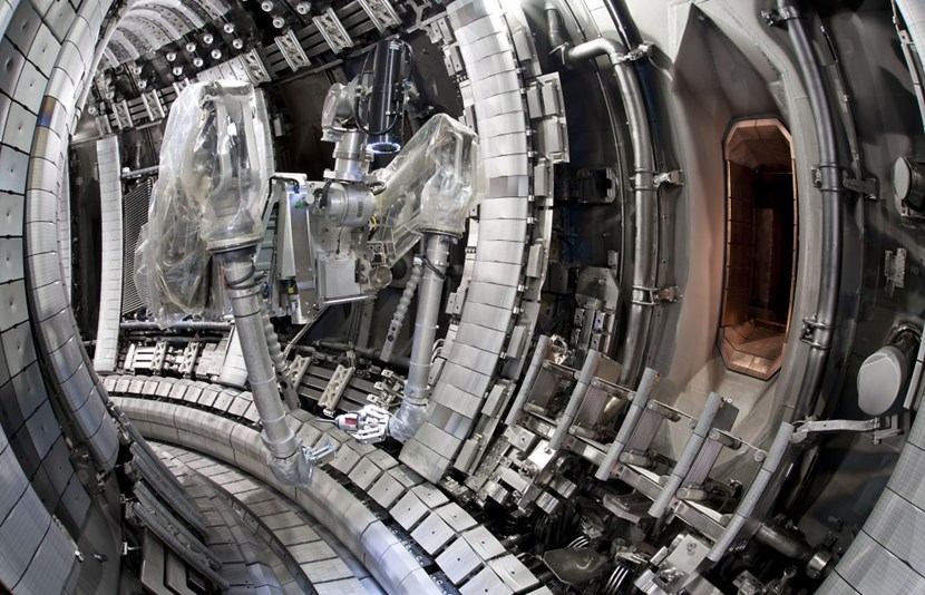 The European tokamak JET, enhanced with an ITER-like wall and divertor, is getting ready to renew experiments with a 50-50 mix of deuterium and tritium. (Click to view larger version...)