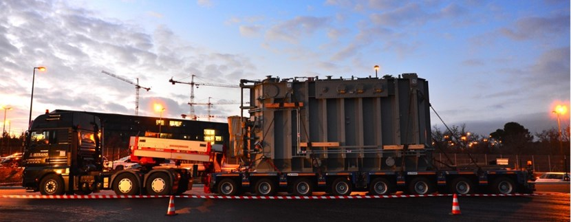 Procured by the United States, manufactured by Hyundai in Korea, transported by DAHER (ITER's global logistics provider), the first Highly Exceptional Load—an electrical transformer—arrived on site on 17 January 2015.