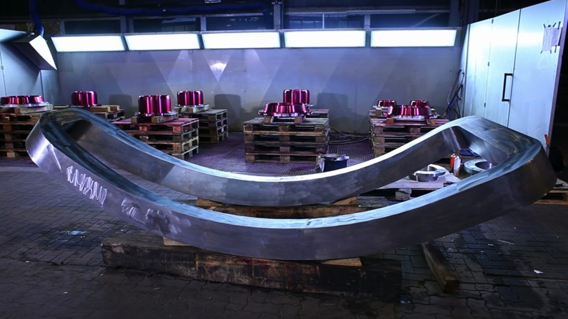 One of the ITER vacuum vessel forgings made out of highly refined F316L(N) IG steel. (Click to view larger version...)