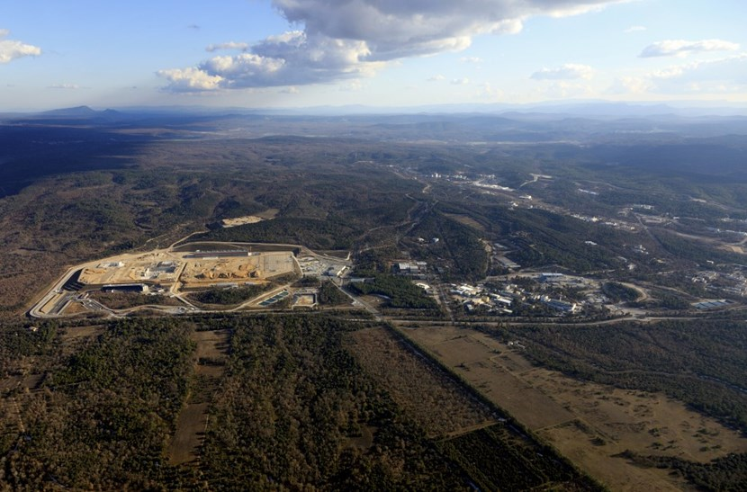 Lost in the wild: the 42-hectare ITER platform from an altitude of 500 metres. To the right: CEA-Cadarache; to the left, Mount Petit and Mount Gros Bessillon (~ alt. 800 m). © MatthieuCOLIN.com / ITER Organization (Click to view larger version...)