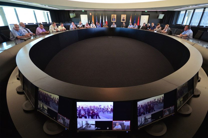 Some 25 former members of JET's staff gathered in the ITER Council Room, connected to Culham by video link. (Click to view larger version...)