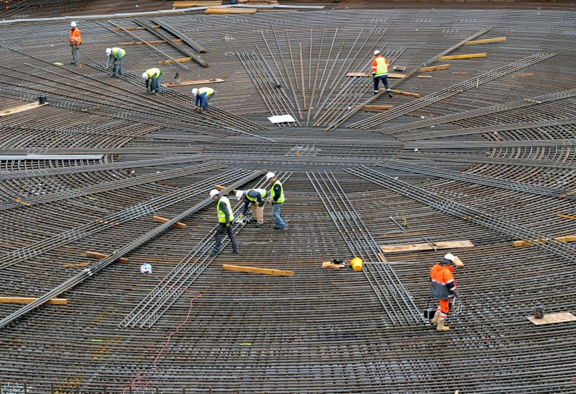 Eight months after being interrupted, rebar operations resumed on this all-important area of the Tokamak Complex concrete slab. (Click to view larger version...)
