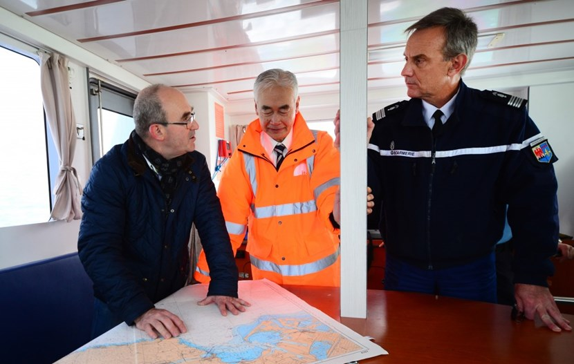 Aboard the Gendarmerie Maritime patrol boat, from left to right: Agence Iter France managing director Pierre-Marie Delplanque, ITER Director-General Osamu Motojima and Colonel Thierry Cailloz, second in command of the PACA region Gendarmerie. (Click to view larger version...)