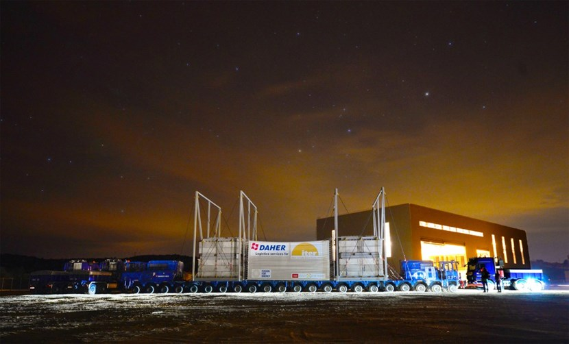 As billions of fusion furnaces glittered in the pre-dawn light, the ITER convoy came to a halt near the Poloidal Field Coils Building ... nearly two hours ahead of schedule. (Click to view larger version...)
