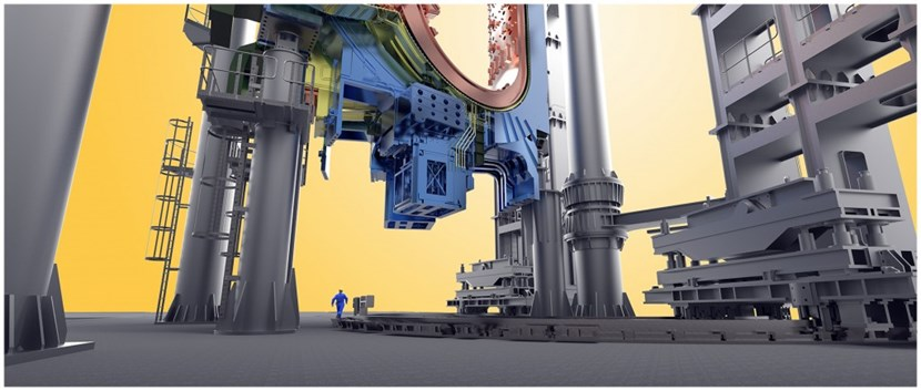 Six stories high, made of 800 tonnes of steel, the Sector Sub-Assembly tools will work in concert to equip the nine sectors of the vacuum vessel before their transfer to the Tokamak Pit. (Click to view larger version...)