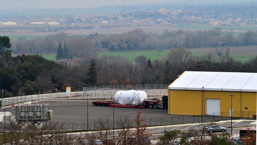 The load that was delivered on Friday 20 March is one of two emergency tanks that will collect tritiated water in the case of an abnormal situation during operation (the second will be delivered in April). (Click to view larger version...)