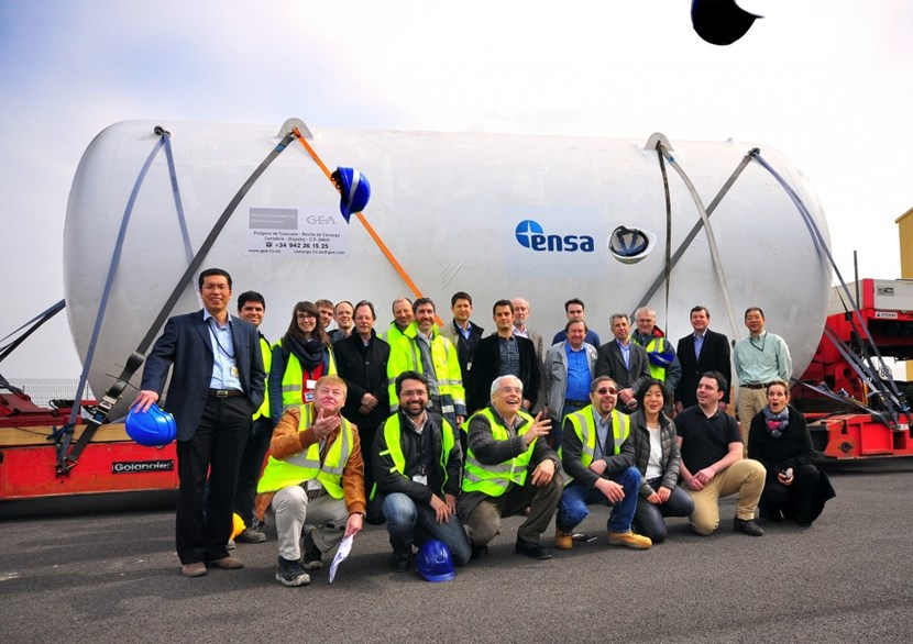 Representatives of the European Domestic Agency, ITER Organization, and ENSA celebrating the arrival of the 20-tonne tank at the ITER site. (Click to view larger version...)