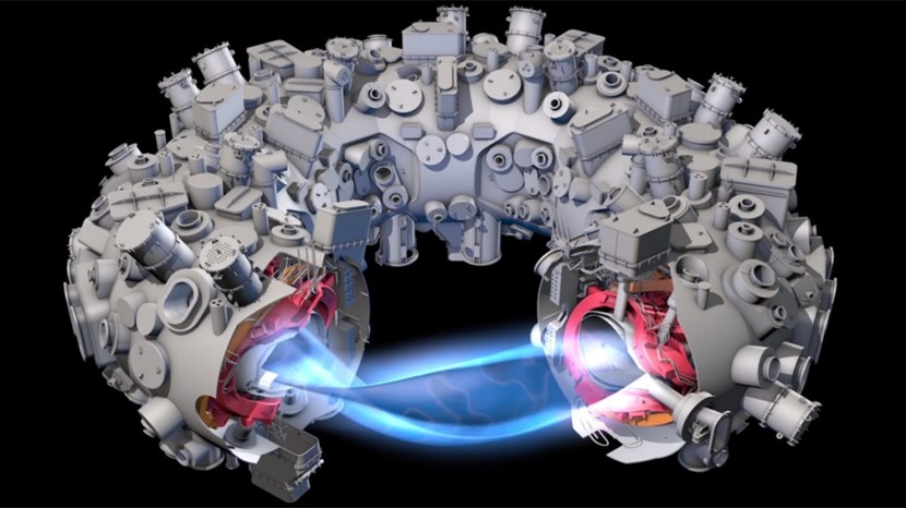 Stellarators rely on a complex and baroque arrangement of twisted coils to confine the plasma inside the machine's vacuum chamber. Wendelstein 7-X is expected to begin operations in the coming weeks. Image: Adapted from IPP by C. Bickel/Science magazine (Click to view larger version...)