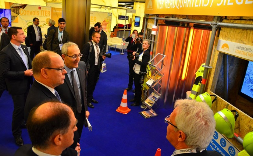 HSH Prince Albert II and ITER Director-General Bigot stop by the ITER display as they tour the 34 stands and industrial exhibits set up in the Grimaldi Forum, where the third Monaco-ITER International Fusion Energy Days are being held from 8 to 11 February in conjunction with the ITER Business Forum IBF/2016. (Click to view larger version...)