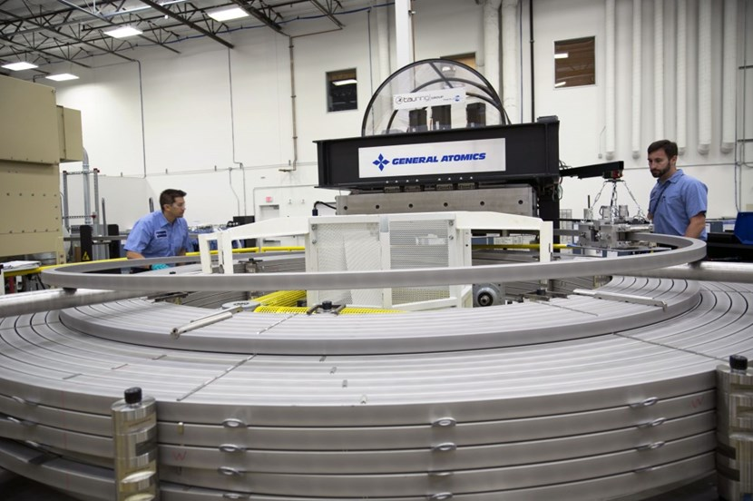 The final turns of the first central solenoid module on the winding table at General Atomics. Photo: GA (Click to view larger version...)