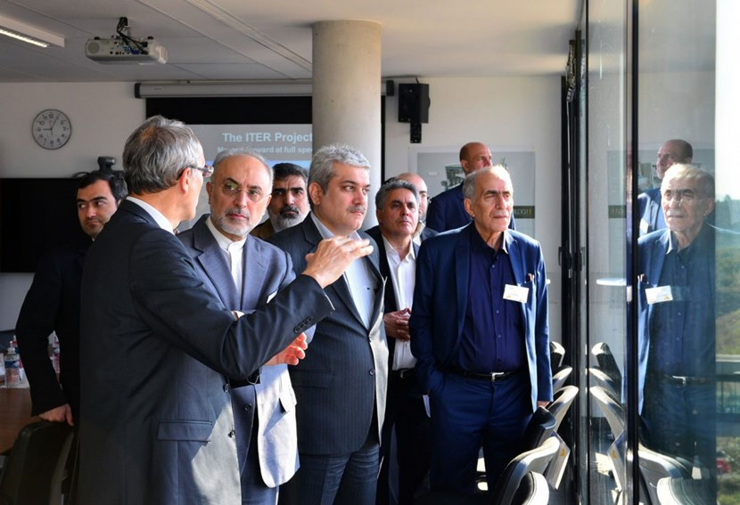 First row, from left to right: Bernard Bigot, Director-General of the ITER Organization; Ali Akbar Salehi, Vice President and head of the Atomic Energy Organization of Iran; Sorena Sattari, Vice President for Science and Technology; and Mahmood Ghoranneviss, head of the Plasma Physics Research Center at Azad University. The Iranian ambassador to Paris, Ali Ahani, was also part of the high-level delegation. (Click to view larger version...)