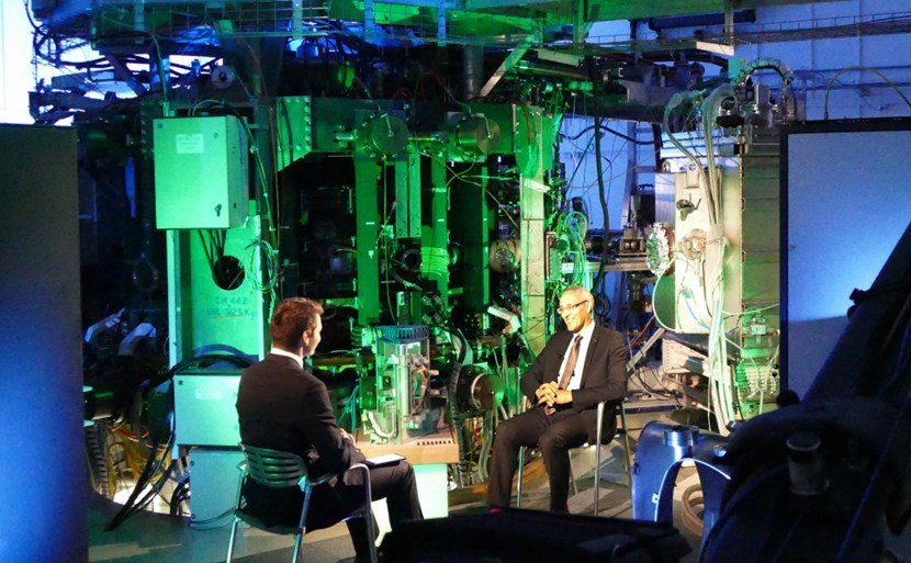 ITER Director-General Bernard Bigot giving an interview to Daniel Stach, moderator of the popular National Czech TV program ''Hyde Park Civilizace'' (which will be aired in English this Saturday) in front of the illuminated Compass tokamak. (Click to view larger version...)
