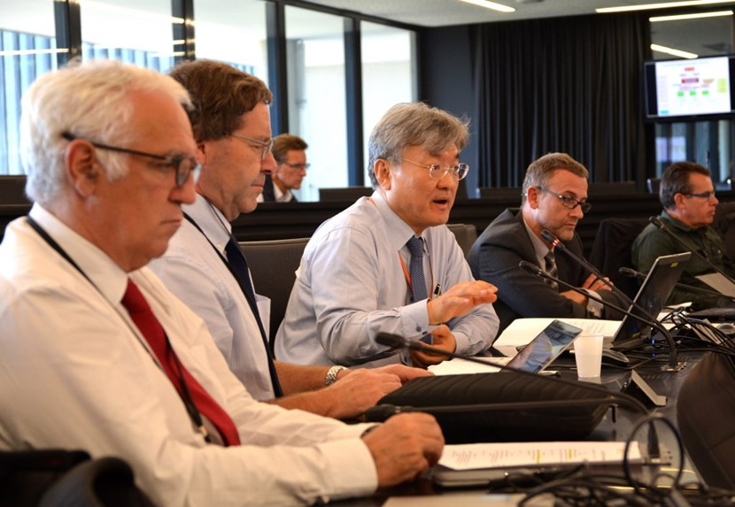 From left to right: Frédérick Bordry, Director for Accelerators and Technology at CERN; Austin Ball, Technical Coordinator for the Compact Muon Solenoid experiment; ITER's GS Lee, Deputy Director-General, who chaired the workshop; and Arnaud Devred, Superconductor Systems & Auxiliaries Section leader, who organized it. (Click to view larger version...)