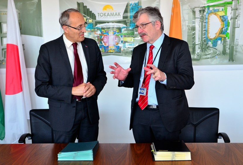 The Cooperation Agreement signed on 30 September marks a ''new model'' for engaging in ITER. Pictured: ITER Director-General Bernard Bigot (left) and ANSTO Chief Executive Officer Adi Paterson. (Click to view larger version...)