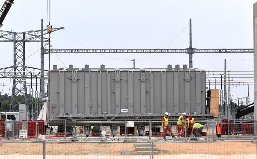 Delivered to ITER in June, the electrical transformer is the first of three similar components, part of China's procurement to ITER, for the pulsed power electrical network. (Click to view larger version...)