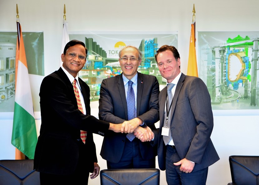 On 28 October, the contract for the manufacturing, qualification, testing and supply of the common port plug was awarded by the ITER Organization to a consortium formed by CNIM (France) and Larsen & Toubro (India). Pictured with ITER Director-General Bernard Bigot is Anil Parab, Senior Vice-President of Larsen & Toubro Heavy Engineering, and Ludovic Vandendriesche, Vice President of Nuclear & Big Science/CNIM Industrial Systems. (Click to view larger version...)