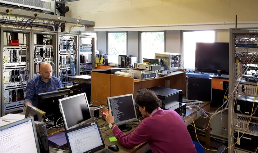 Bertrand Bauvir (ITER Organization, left), Andre Neto (European Domestic Agency for ITER, right) and Adam Stephen (CCFE, not pictured) have teamed up to enhance control room tools by integrating high performance ITER software with state-of-the-art data visualization tools from the JET data analysis group. (Click to view larger version...)