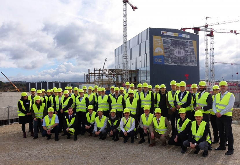 About 50 attendees of the Remote Handling Progress Review and Standardization Workshop were able to participate in an ITER site tour and see where ''their'' remote handling systems will be located. (Click to view larger version...)