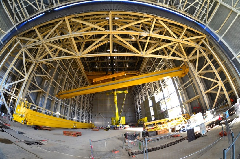 This time, the weight of the auxiliary crane girders and the installation height made it possible to use a telescopic crane that operated from inside the Assembly Hall.<br /><br /> (Click to view larger version...)