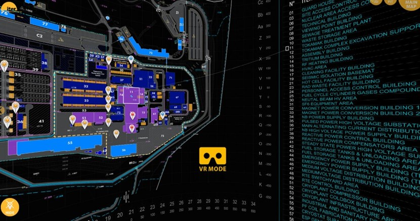 The tool opens to a 360-degree screen where you can choose between the overall site plan, a more detailed schematic of the Tokamak Complex, selected drone videos, or a key to the building maps. The teardrop-shaped markers open photos and videos shot by drone from different vantage points on the construction site. (The latest data set dates from October 2016.) (Click to view larger version...)