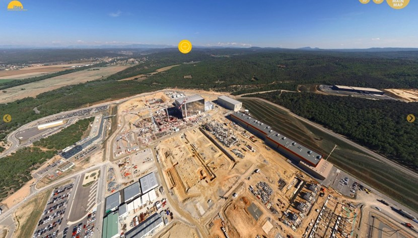 The blue teardrops take you high above the ITER worksite. Or, for a more earthbound experience, choose the yellow (ground-level) or red (interior view) teardrops. (Click to view larger version...)
