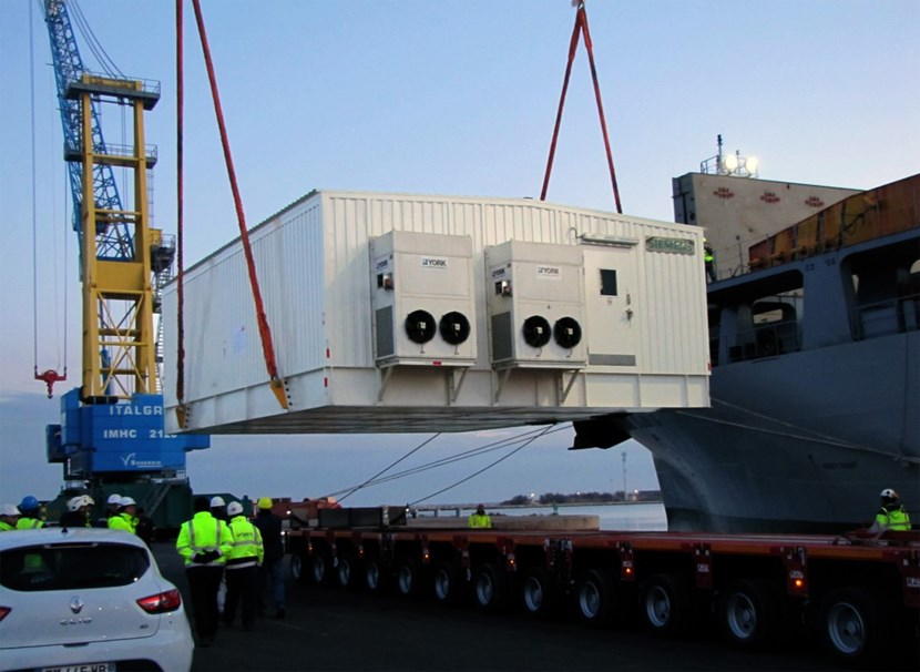 Procured by China, two E-houses for the pulsed power electrical network (PPEN) were unloaded last week in Fos-sur-Mer and are scheduled for delivery to the ITER site on 9 February. © DAHER (Click to view larger version...)
