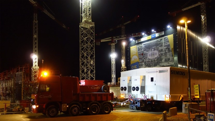 The ''E-house'' that was installed on its final location upon arrival was the smallest of the two. Still, at 8.3 metres wide, it was no small achievement to get it through the densely packed ITER worksite © DAHER (Click to view larger version...)