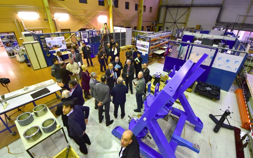On 9 February, ITER Director-General Bernard Bigot, accompanied by members of the Organization's senior management and guided by Neil Mitchell and Arnaud Devred, of the ITER Magnet Division, visited the Magnet Infrastructure Facilities─a set of labs jointly operated by ITER and CEA. (Click to view larger version...)