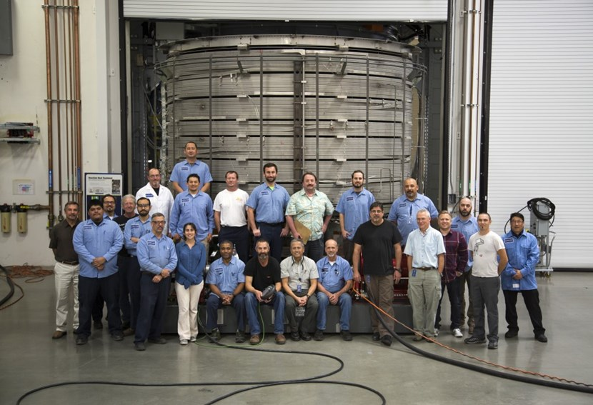 Something to celebrate: at the General Atomic Magnet Development Facility outside of San Diego, California, engineers and technicians have successfully completed the joining of the seven individual sections of the first central solenoid module. (Click to view larger version...)
