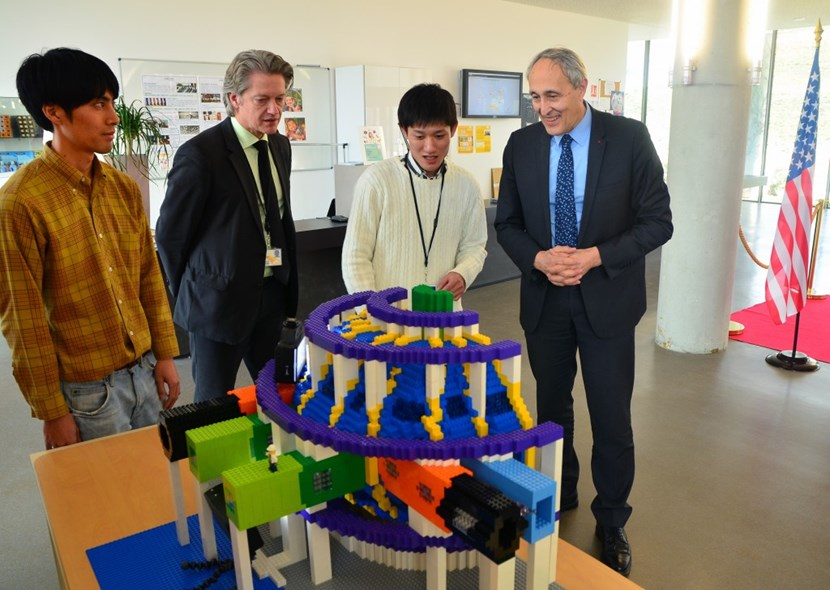 On the fourth day, on time and on budget, the young Japanese students from Kyoto University presented their work to ITER Director-General Bernard Bigot (right) and Director of Communication Laban Coblentz. (Click to view larger version...)