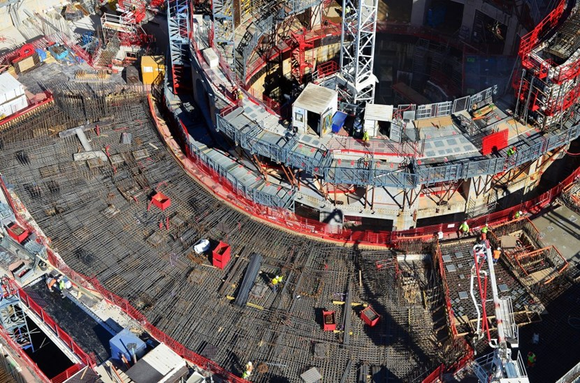 Workers are preparing to pour the last segments of the Tokamak Building L1 slab ... laying rebar, positioning anchor plates, setting up scaffolding. Visitors to ITER's Open Doors Day in May will be able to walk out over the finished concrete (L1 is the equivalent of ground level). (Click to view larger version...)
