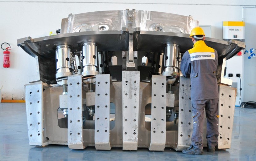 Many smaller elements had to be welded together to achieve this small part of vacuum vessel sector #5 (a subassembly of poloidal segment 2 on its support jig). Fabrication activities like this are underway now for sectors #6 and #1 in Korea and #5 in Europe. (Click to view larger version...)