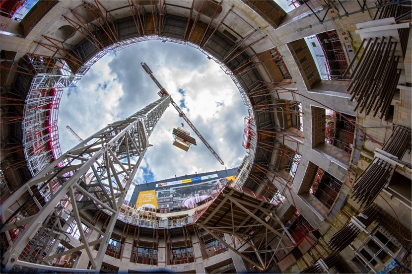 From inside the Tokamak Pit, looking out past the successive levels of the ITER bioshield. (Click to view larger version...)
