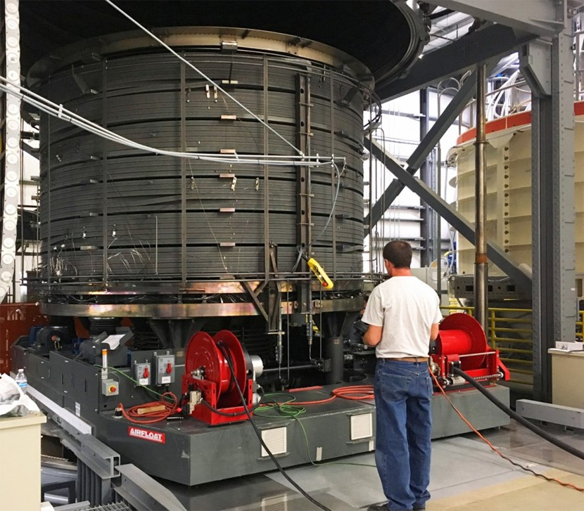 The heat treatment furnace at General Atomics can accept one central solenoid module at a time. During a month-long process, heat treatment reacts niobium and tin to form the superconducting alloy Nb3Sn. (Click to view larger version...)